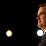 Republican presidential candidate, Mitt Romney, speaks at the podium as he concedes the presidency during Mitt Romney's campaign election night event at the Boston Convention & Exhibition Center on November 7, 2012 in Boston, Massachusetts.