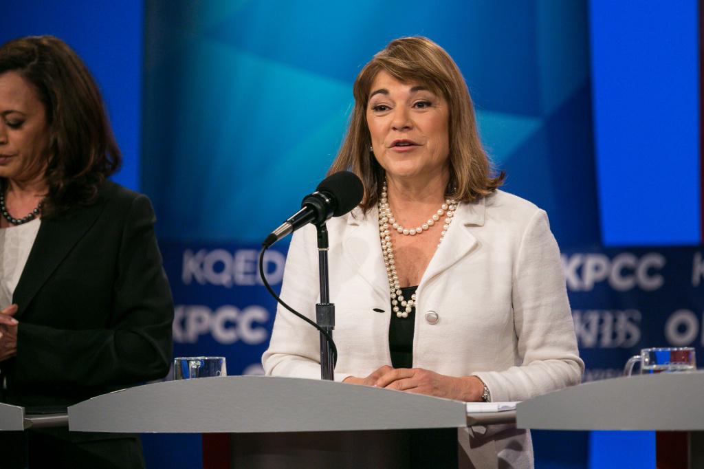Congresswoman Loretta Sanchez at a U.S. Senate debate at KPBS in San Diego, May 10, 2016.