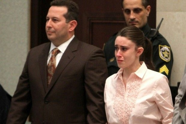 Casey Anthony, the mother of Caylee Anthony, reacts to being found not guilty on murder charges at the Orange County Courthouse in Orlando, Fla. on July 5, 2011