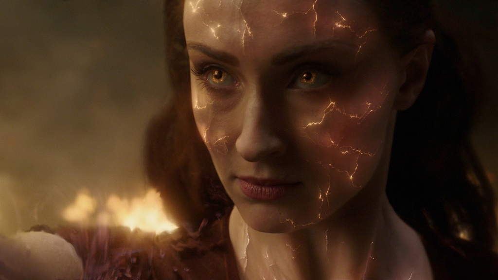Jean Grey (Sophie Turner) battles her rage — and a cosmic case of combination skin — in <em>Dark Phoenix</em>.
