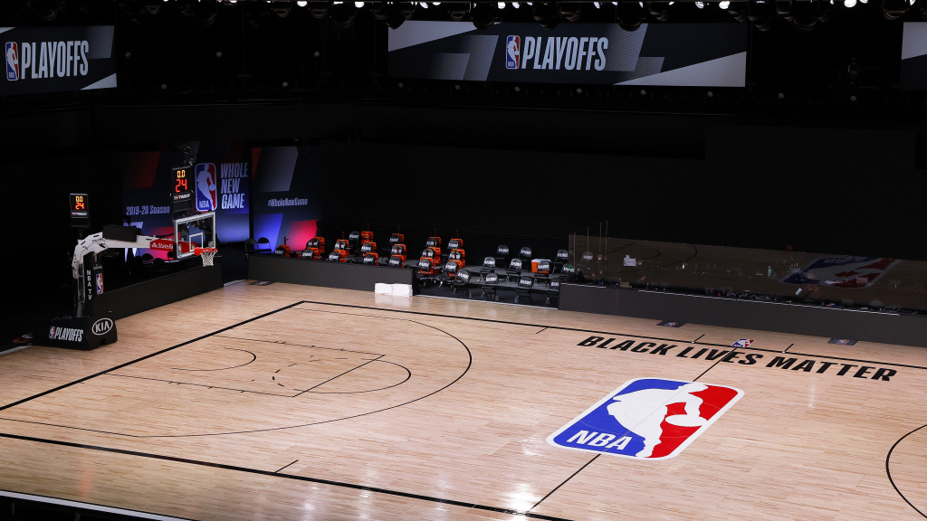 An empty basketball court where the Milwaukee Bucks had been scheduled to play the Orlando Magic on Aug. 27. The Bucks and other NBA teams boycotted their games following the police shooting of a Black man in Kenosha, Wisc. earlier this week.