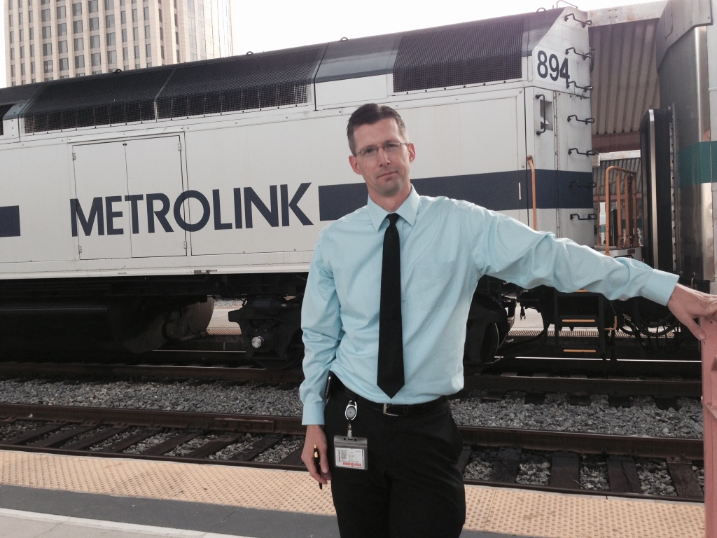 Metrolink spokesman Scott Johnson on a train platform at Union Station.
