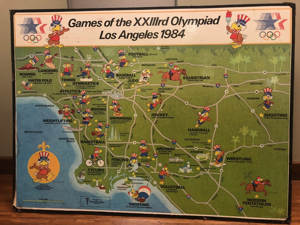 The 1984 Thomas Guide Los Angeles Olympic Games wall map. Thomas Bros. Maps were the official mapmaker for the Olympics in L.A.