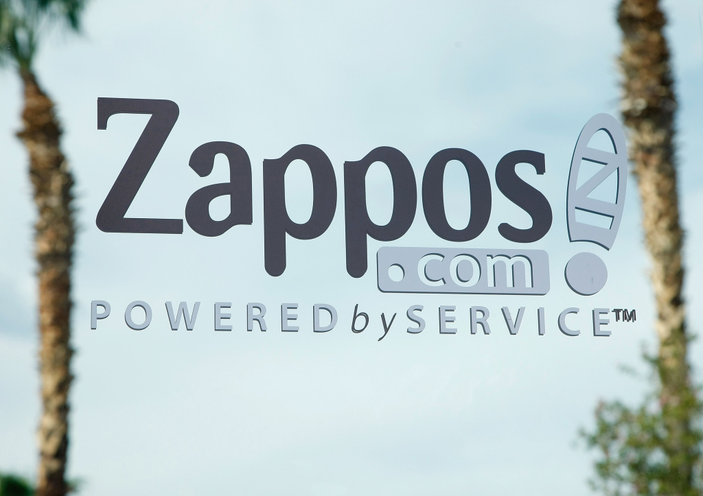 A sign is seen on the front door of the Zappos.com headquarters July 22, 2009 in Henderson, Nevada.