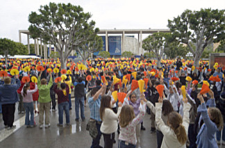 Thousands of fifth-graders gather at the Music Center Plaza to participate in the annual Blue Ribbon Children's Festival in Los Angeles, Calif.