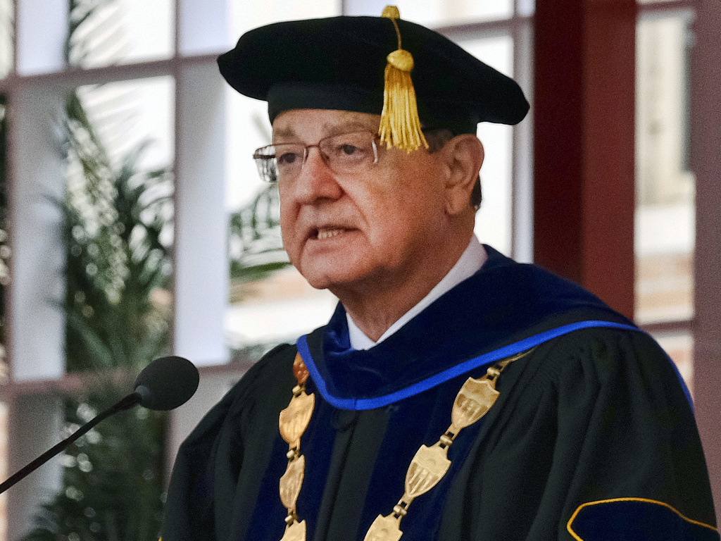 Former University of Southern California President C.L. Max Nikias at commencement ceremonies in 2017.