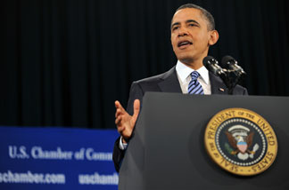 President Barack Obama makes remarks at the US Chamber of Commerce on Feburary 7, 2011 in Washington, DC.