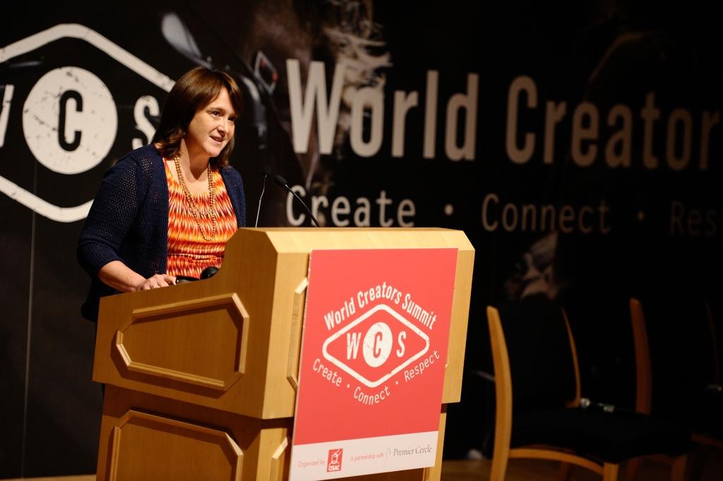 US Register Of Copyright Office Maria Pallante speaks at World Creators Summit on June 4 in Washington, DC.