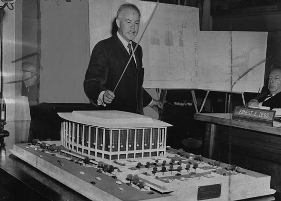Architect Welton Becket presents plans for the new Music Center to the Board of Supervisors in 1960