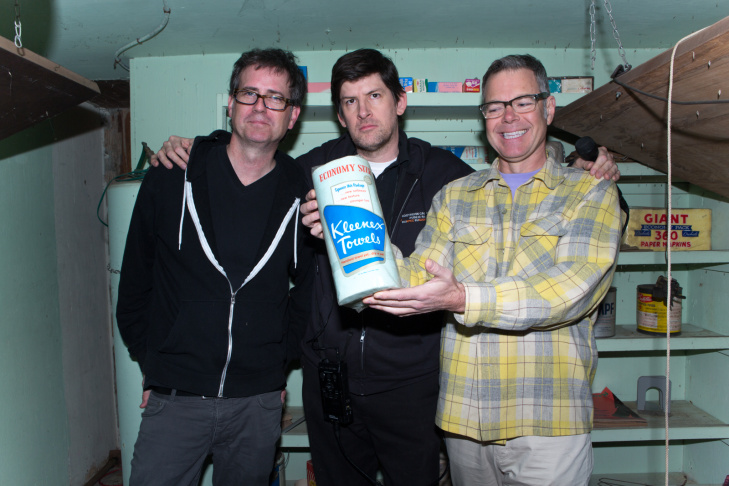 Homeowner Chris Otcasek, Off-Ramp host John Rabe, and Americana historian Charles Phoenix in Otcasek's backyard bomb shelter.
