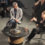 "Reza Aslan interviews Jill Soloway (creator of ""Transparent"") on the set of his Ovation series, ""Rough Draft."""