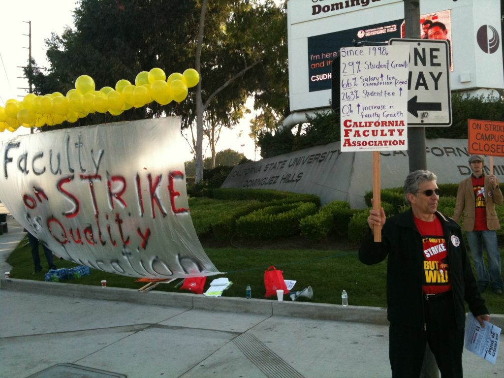 Faculty at Cal State Dominguez Hills walked off the job today to pressure the university to grant them a .25 percent pay raise. The strike is part of a one day strike at two campuses organized by the system-wide union that represents faculty at 23 campuses.