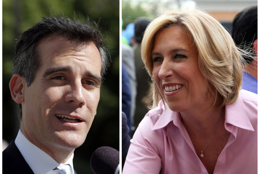 This combo shows a Feb. 20, 2013 file photo of Los Angeles mayoral candidate Eric Garcetti speaking to media in Los Angeles, left, and undated image provided by the Wendy Greuel Campaign of mayoral candidate Greuel meeting with voters.