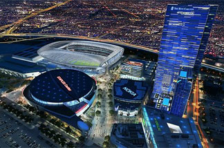 A computer rendering of the downtown Los Angeles landscape with the new stadium proposed by AEG