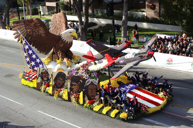 The city of West Covina's 2010 rose float was a tribute to the Tuskegee airmen. The float was designed by Charisma Floats. Two of the portraits from the side of the float were acquired by the Smithsonian.