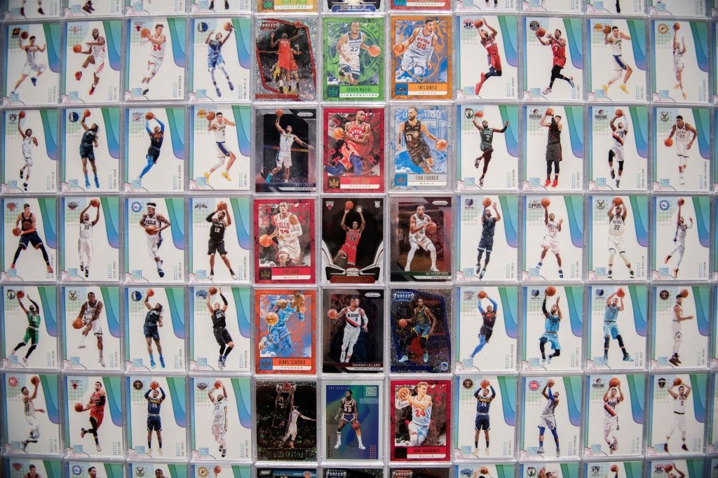 Basketball trading cards are displayed at the NBA exhibition in Beijing on August 19, 2019.