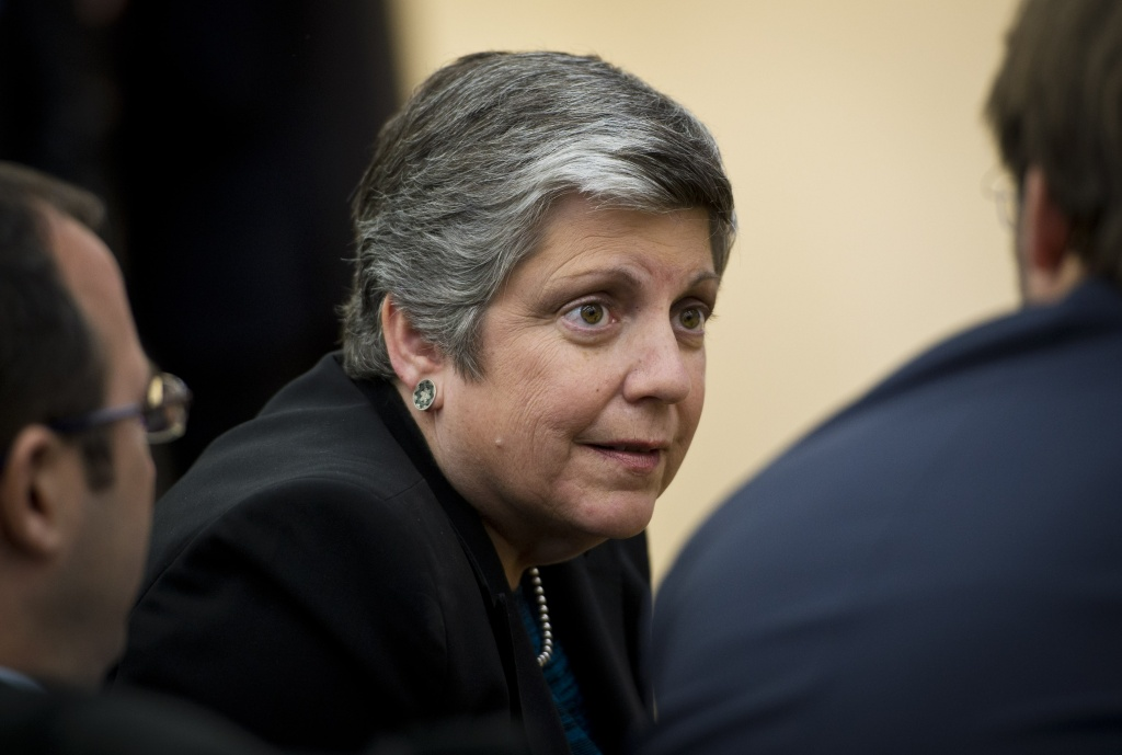 In this file photo, University of California President Janet Napolitano is seen at an event at the South Court Auditorium of the Eisenhower Executive Office Building, next to the White House on January 16, 2014 in Washington, DC. A UC panel has tentatively approved a Napolitano recommendation that would raise tuition in each of the next five years.
