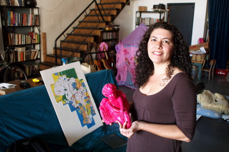 Artist Jill D'Agnenica at her studio in Lincoln Heights
