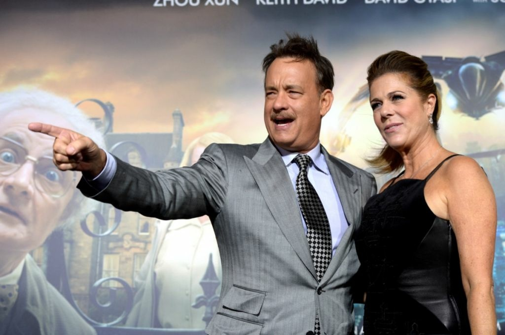 Actors Tom Hanks (L) and his wife Rita Wilson arrive at the premiere of Warner Bros. Pictures' 'Cloud Atlas' at the Chinese Theatre on Oct. 24, 2012 in Los Angeles.