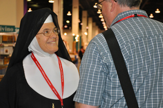 Sister Sean Patrice stops while on her way to a talk at the Los Angeles Religious Education Congress on Friday, March 19, 2010.