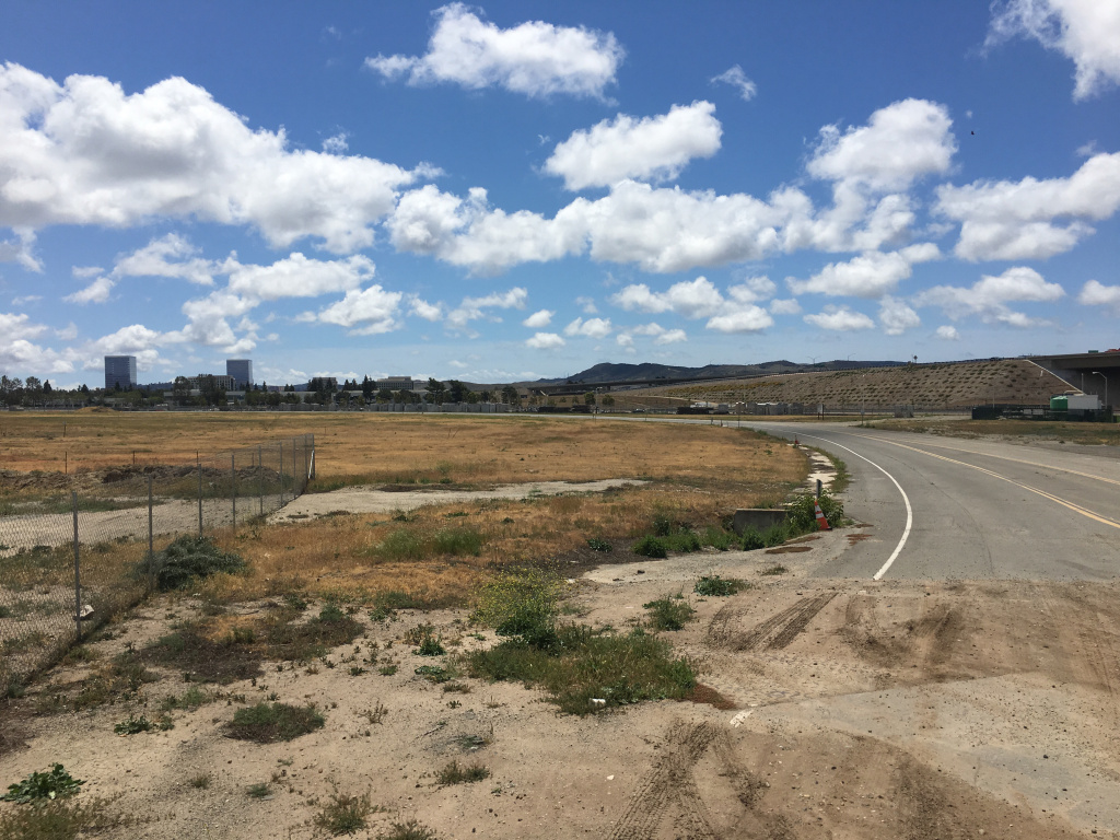 The original site proposed for a homeless shelter in Irvine sat near Interstate 5 and an Amtrak line. It was rejected after residents protested, and the mayor said chemical contamination and a lack of infrastructure make it