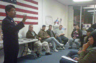 City Council election winner Nestor Enrique Valencia speaks to supporters at his campaign headquarters last night.