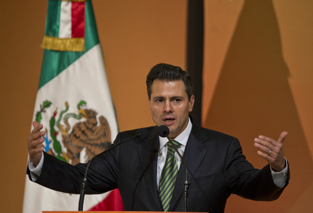 The elected president of Mexico Enrique Peña Nieto delivers a speech during a conference in the framework of the 'Mexico Business Summit' in Queretaro, Mexico, on November 12, 2012.