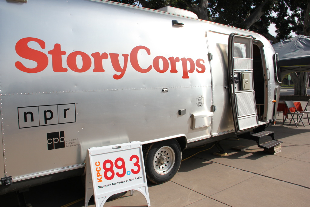 The StoryCorps mobile recording studio, housed in a shiny Airstream trailer, camped outside the California African American History Museum in L.A.'s Exposition Park from March 24-April 23, 2011.