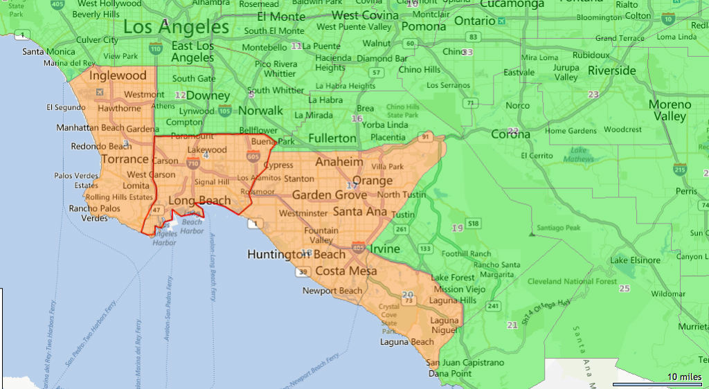 Orange County Los Angeles Map
