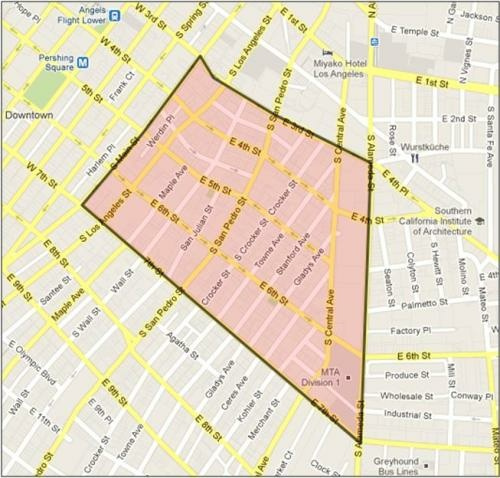 The outlined area in downtown LA shows where the proposed Skid Row Neighborhood Council's boundaries would exist. The Skid Row Neighborhood Council Formation Committee submitted its application last week.