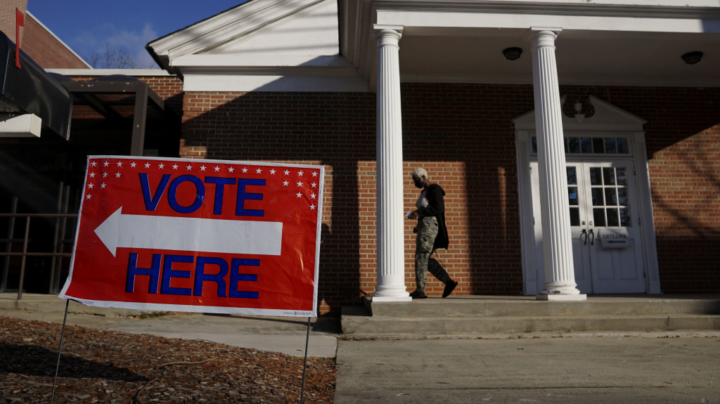 Voters enter a polling station at the Zion Baptist Church on Jan. 5 in Marietta, Ga. Black churches have often played a role in mobilizing their congregants to vote.