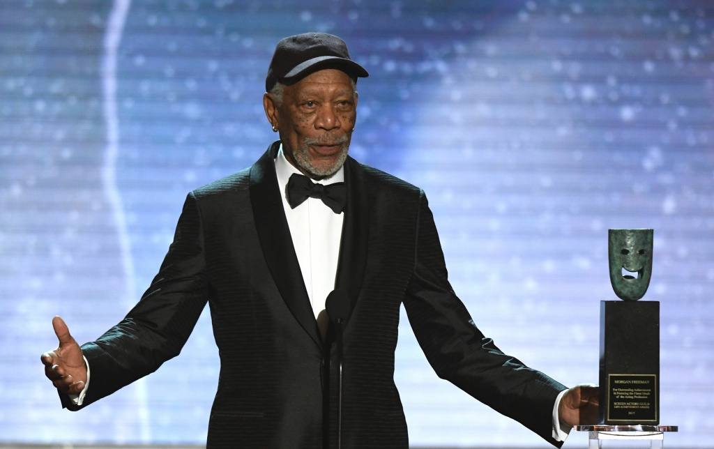 Morgan Freeman accepts the Life Achievement Award onstage during the 24th Annual Screen Actors Guild Awards show at The Shrine Auditorium on January 21, 2018 in Los Angeles, California.