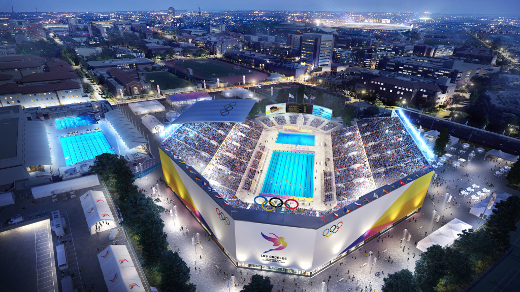 File: Artist rendering of LA 2024's proposed aquatics venue.