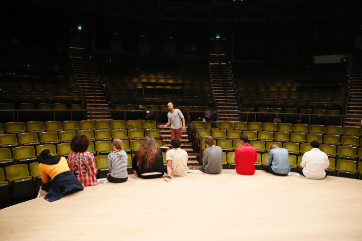 Students in rehearsal for the 2016 August Wilson Monologue Competition held at the Center Theatre Group/Mark Taper Forum on January 30, 2016, in Los Angeles, California.