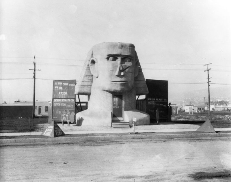 This photo of the Sphinx Realty Company, located at 537 N. Fairfax Ave. across from where Fairfax High School now stands, supposedly dates to 1920, so it's too early for it to have been inspired by the Egyptology craze that swept the U.S. after Tutankhamun's tomb was discovered in 1922. Notice the signs listing nearby properties for sale. Back then you could buy a six-bedroom, corner stucco house for $7,200. (Photo via Los Angeles Public Library Collection)