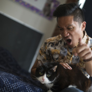 """The camera is over THERE! Work it!"" - Leo Duran (playfully) harassing his cat."