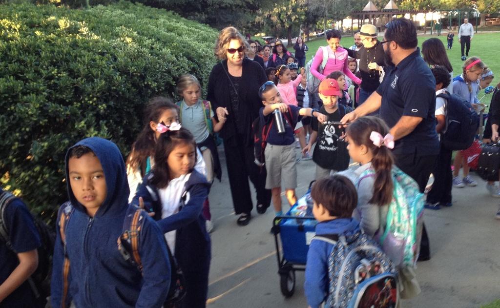 Students walk to San Rafael Elementary in Pasadena on international Walk to School Day.