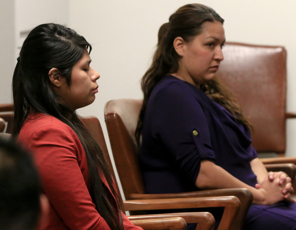 Vanesa Zavala (L) and Candace Marie Brito (R) at the West Justice Center on February 10, 2014 in Westminster, California. The two defendants face trial April 14 on murder charges in connection with the beating death of Kim Pham in front of a Santa Ana nightclub.