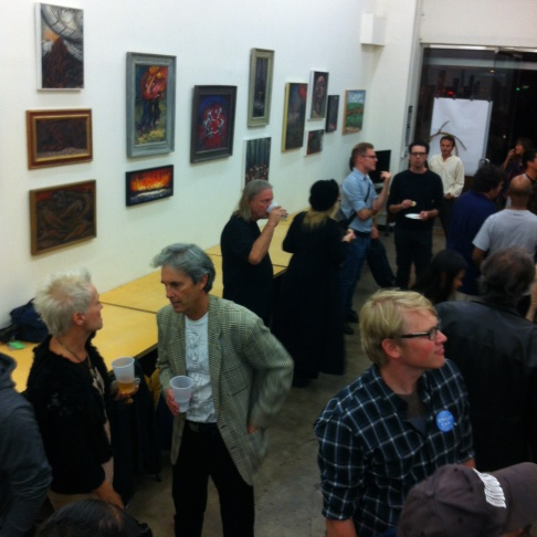 Opening night at A Civil Defense: The Paintings of Estano (Philip Stein) at Gary Leonard's Take My Picture gallery in downtown LA.