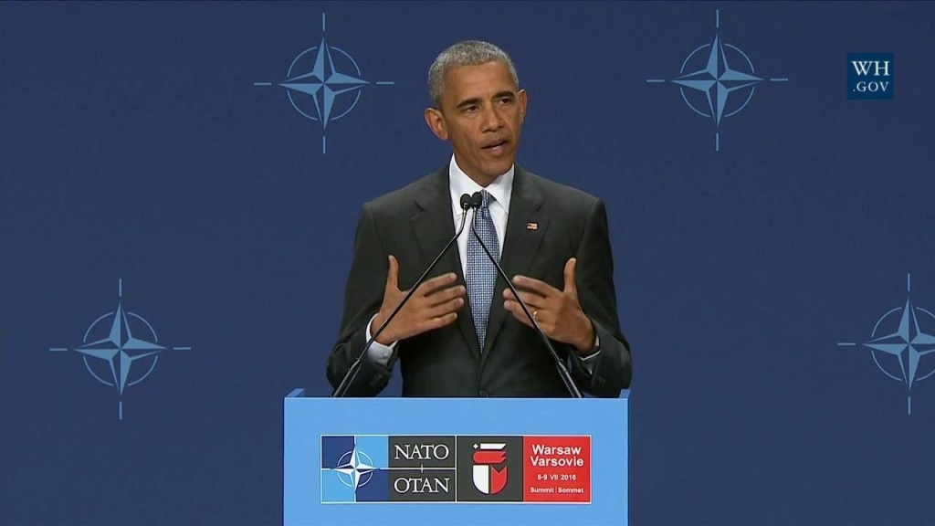 U.S. President Barack Obama speaks at his final NATO summit, in Warsaw, Poland, on July 9, 2016. He spent much of addressing the sniper killings of five police officers in Dallas.