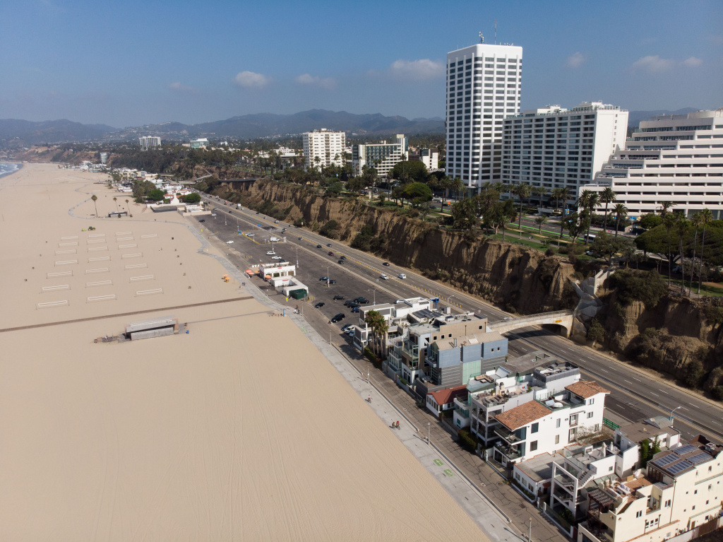 Santa Monica Beach, a very wide, artificially built, and regularly maintained beach. Photographed on September 9, 2019 in Santa Monica, California.