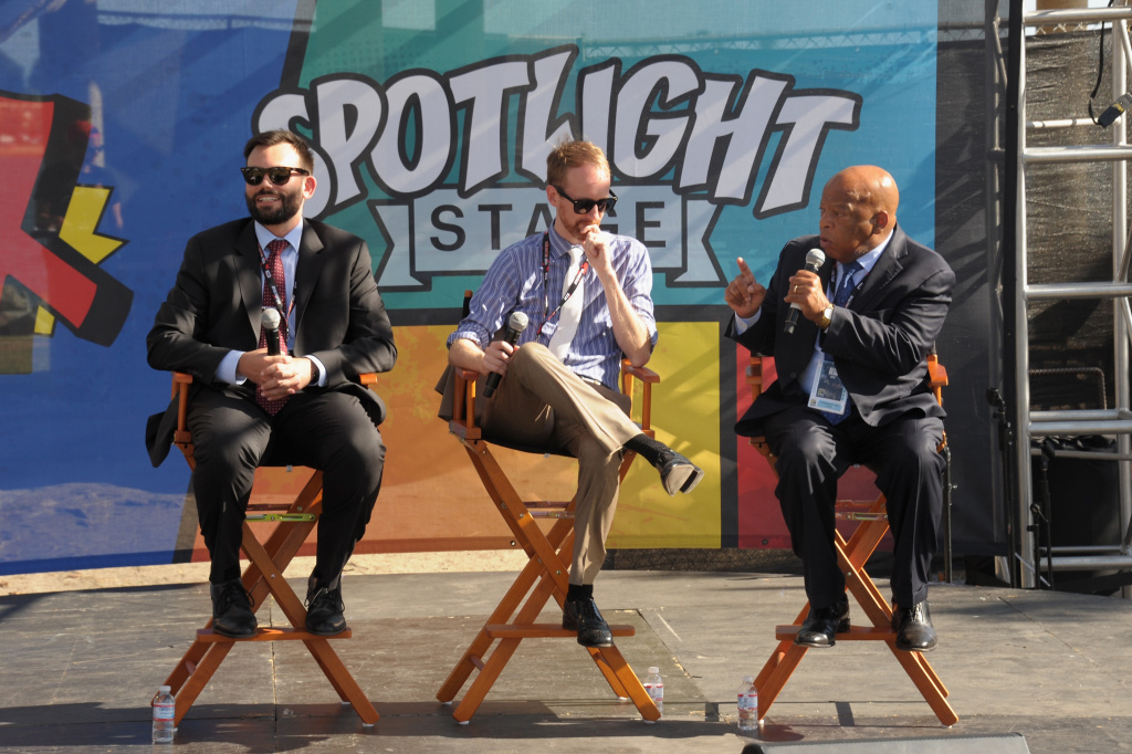 (L-R) Andrew Aydin, Nate Powell and Congressman John Lewis attend Entertainment Weekly Con-X at Embarcadero Marina Park North on July 22, 2016 in San Diego, California.