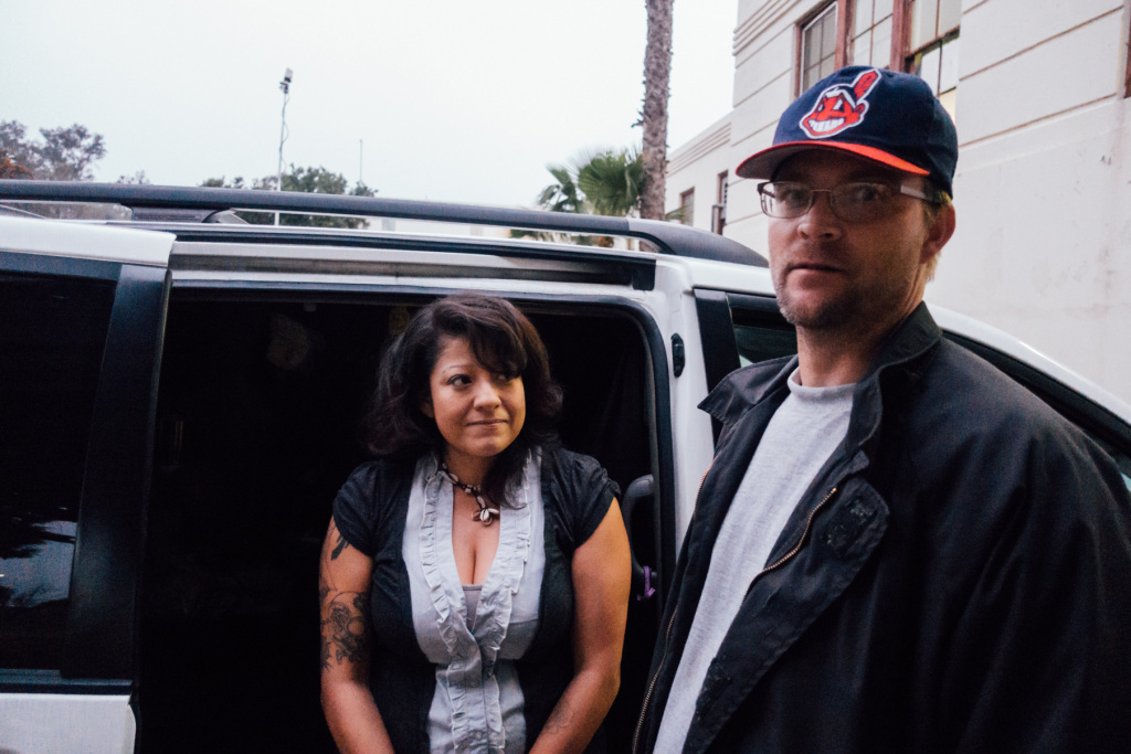 Army veteran Adam John Halvorsen and his girlfriend, Angela Del Castillo, were the first participants in a Safe Parking Program on the West L.A. VA campus near Brentwood.