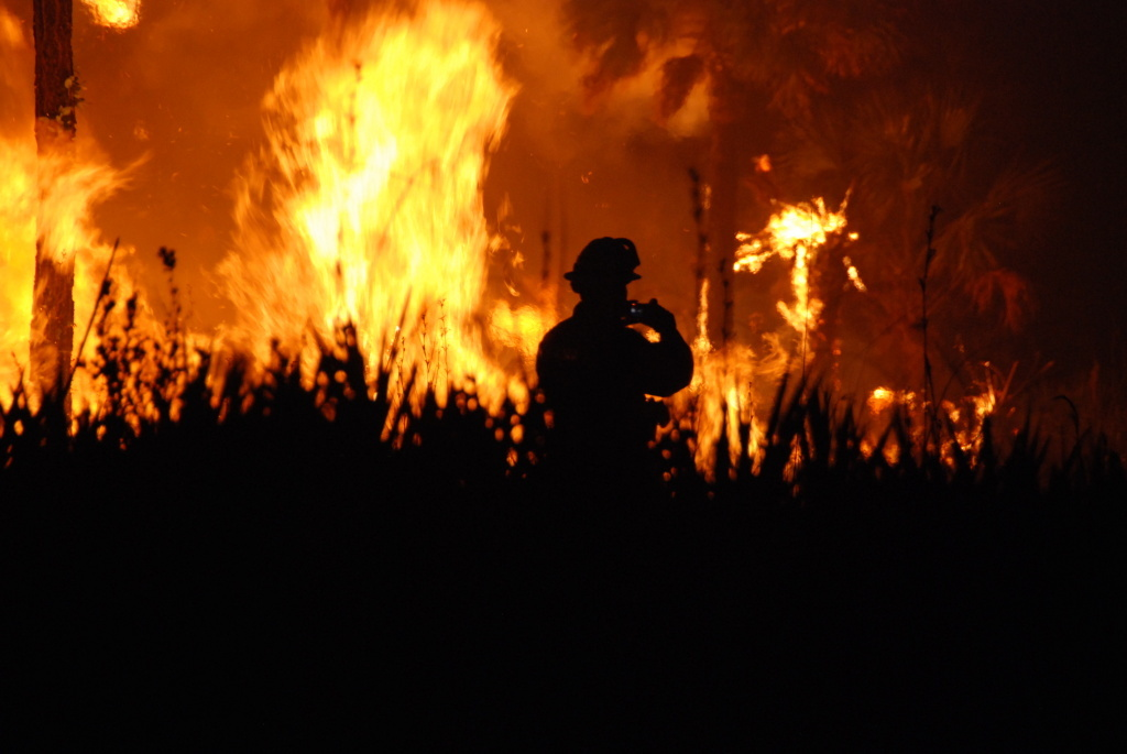 A wildfire at Florida Panther NWR. Photo by Josh O'Connor - USFWS.