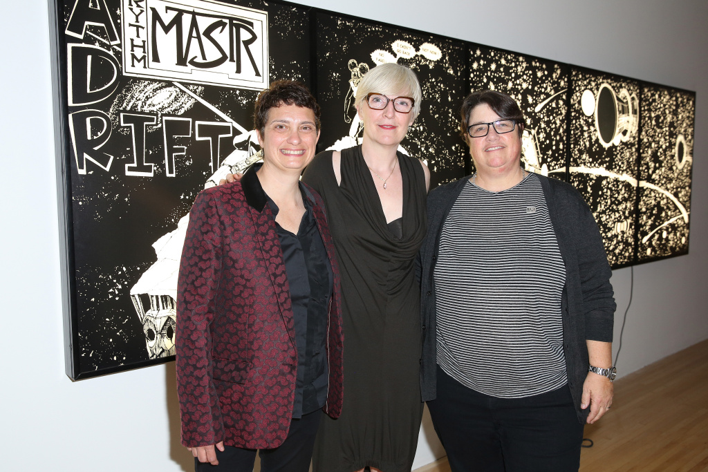 Susan Dackerman, curator Helen Molesworth and photographer Catherine Opie attend the opening of Kerry James Marshall: Mastry at MOCA Grand Avenue on March 11, 2017 in Los Angeles, California.