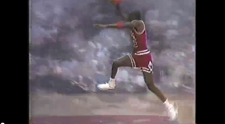 A screenshot from the opening title sequence of Michael Jordan's Airwaves