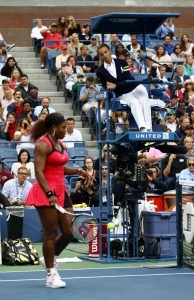 Serena Williams of the United States questions the call of chair umpire Eva Asderakia while playing against Samantha Stosur of Australia during the Women's Singles Final on Day Fourteen.
