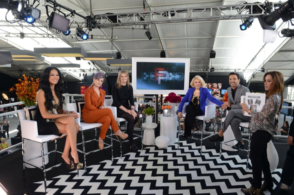 Designer Kimora Lee Simmons, host Kelly Osbourne, designer Jenny Packham, hosts Joan Rivers and George Kotsiopoulos and producer Melissa Rivers are seen on the set of Fashion Police at Spring 2013 Mercedes-Benz Fashion Week at Lincoln Center for the Performing Arts on September 12, 2012 in New York City.