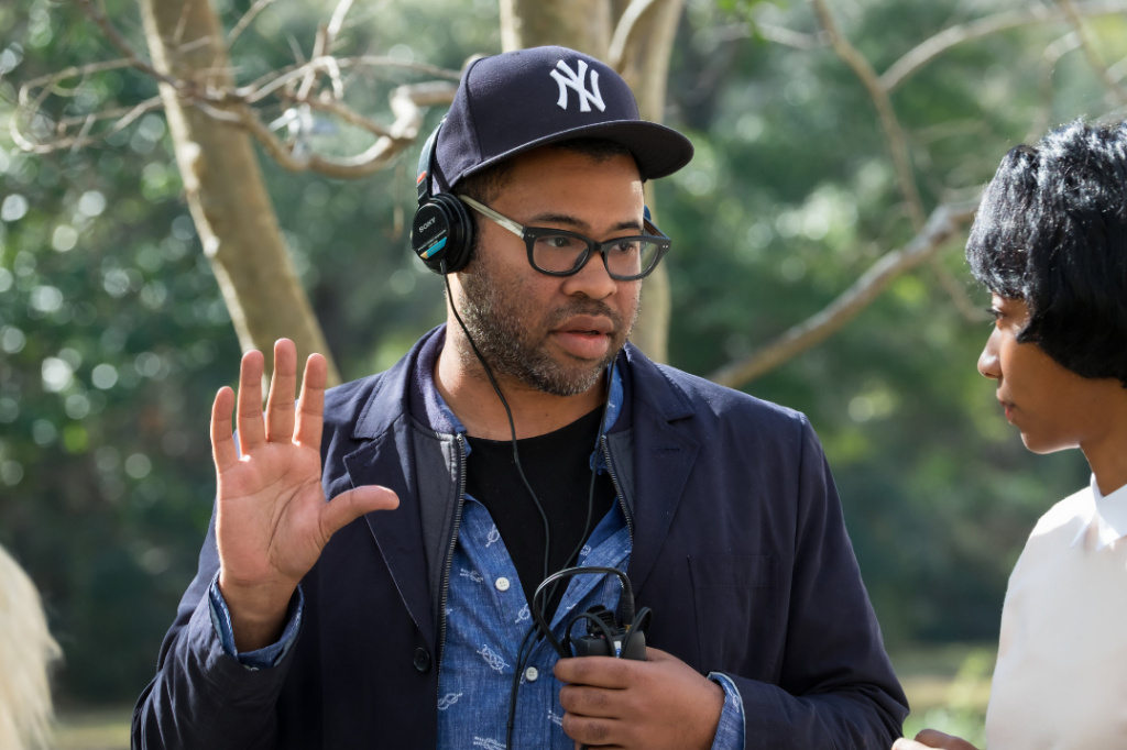Jordan Peele on the set of