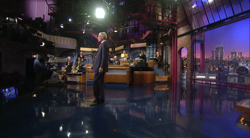 David Letterman plays to an empty room during a